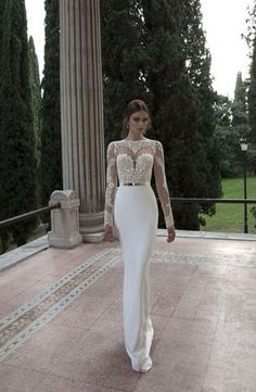 Vestidos De Noiva 2014 Bridal Gowns New Arrival Sexy Long Sleeves Sheer Lace Mermaid Wedding Dresses from 27dress.com