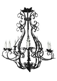 Custom hand forged iron chandelier by www.haciendalights.com