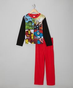Take a look at this Black & Red Avengers Pajama Set - Boys on zulily today!