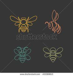 Bee logo vector design icon set