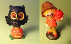 1976 Hallmark Merry Miniatures Scarecrow AND Owl with Pumpkin Lot of 2 EXCELLENT