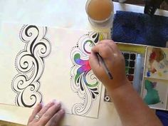Lesson 8 2 Watercolor Painting Your Doodled Edge