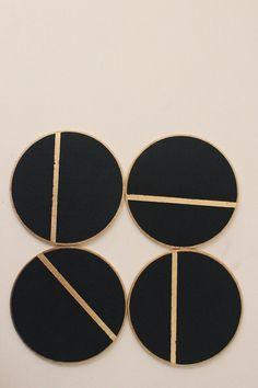 Linea Wood Coasters  Black by thevintagevoguestory on Etsy