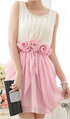 draped chiffon rose waist dress