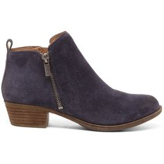 Lucky Brand Basel Ankle Bootie ($129) ❤ liked on Polyvore featuring shoes, boots, ankle booties, bright blue, leather bootie, leather booties, low heel boots, leather ankle booties and ankle boots