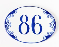 Oval custom House number plaque, Ceramic address plaque, blue house numbers, porcelain number sign