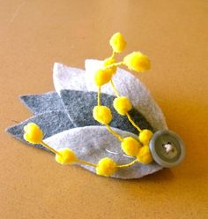 fascinator shades of grey with yellow fuzzies made by FuzzyRose, $15.00