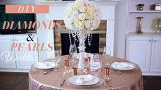 How to build a nice round silk flower bouquet: Glam Diamonds & Pearls Wedding Pearl Wedding Centerpieces, Rose Gold Centerpiece, Gold Centerpieces, Wedding Ceremony Decorations, Wedding Ideas, Centerpiece Rentals, Dollar Tree Wedding, Pearls, Diamonds