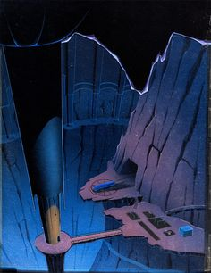 A great Art Deco-style production background of the Batcave from Batman the Animated Series (Warner Brothers, 1995), created by Bruce Timm.