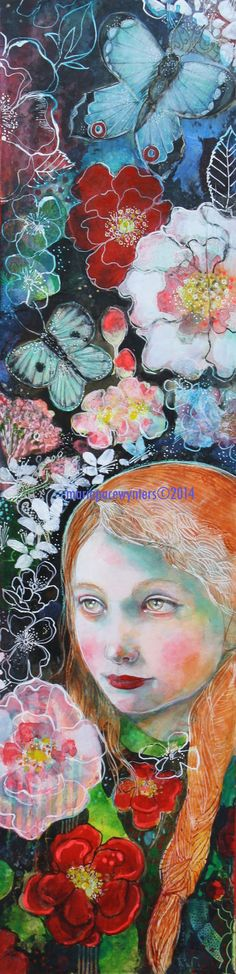 In The Rose Garden- Original mixed media painting by Maria Pace-Wynters