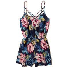 Hollister Strappy Woven Romper ($40) ❤ liked on Polyvore featuring jumpsuits, rompers, navy floral, floral rompers, navy rompers, beach rompers, playsuit romper and flower print romper