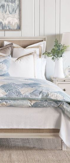 Take a dive into this chic oceanic bedding collection, inspired by Barclay's visits to sophisticated seaside locales. Channeling balmy evenings by the shore, Brentwood's centerpiece is its cool and soothing maritime print. Pair trim-appliqued trellis shams and jute-trim Euro shams for added dimension and interest. #bedding #luxurybedding #designerbedding #bedroomideas #decoratingideas #masterbedroom #duvetcovers #comforters #luxe #glamorous