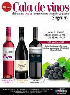 Este 24 de abril disfrutaremos una selección exquisita de vinos con nuestra Sommelier Sugenny, te esperamos. Recuerda confirmar asistencia.