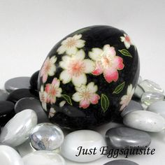 Japanese Washi Easter Egg Black Floral Hand Decorated Chicken