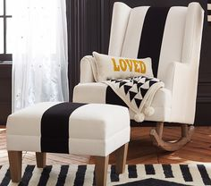Emily & Meritt for @potterybarnkids Modern Wingback Convertible Rocker and Ottoman - love this super-chic black and white look!