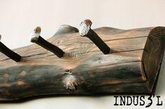 Reclaimed Wood Coatrack & Railway Spikes   Playa Del Carmen Rustic Industrial Lamps & Furniture