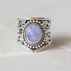 Boho Genuine Moonstone Silver Statement Ring
