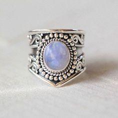 Boho Genuine Moonstone Silver Statement Ring