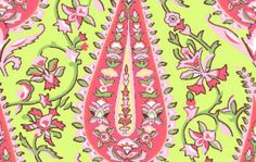 Latest Designer Fabric 'Cypress Paisley in Lime' by Amy Butler (USA). Designer Fabrics, curtains, blinds, cushions online
