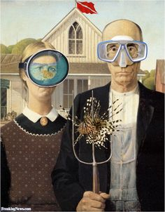 Scuba Gothic, by pegleg of the Independents American Gothic Painting, American Gothic House, Grant Wood American Gothic, American Gothic Parody, American Art, Deviant Art, Mona Lisa, Gothic Pictures, American Gothic
