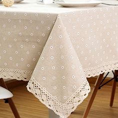 ColorBird Daisy Flower Cotton Linen Tablecloth Macrame Lace Dustproof Table Cover for Kitchen Dinning Pub Tabletop Decoration (Square, 55 Picnic Tablecloth, Linen Tablecloth, Table Linens, Tablecloth Ideas, Dining Table Cloth, Tabletop, Crochet Pillow, Burlap, Handarbeit