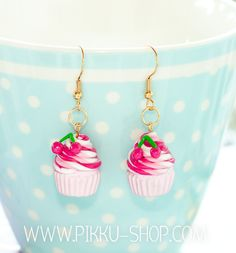 Handmade cupcake earrings with cherries on top Cherry Earrings, Drop Earrings, Cherry Cupcakes, Kawaii Jewelry, Cherry On Top, Polymer Clay, Handmade, Shopping, Fimo
