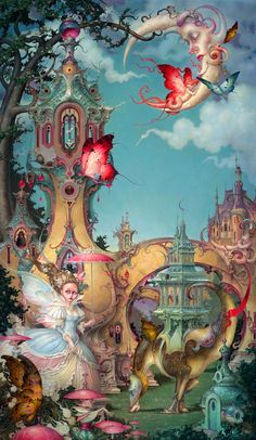 Le Petit Trianon is the newest limited edition masterpiece by Daniel Merriam. This intricate work of art is a fine art giclee on canvas, made from an high monumental original painting by Merriam, a pioneer of the Imaginary Realism art movement. Le Petit T Art Fantaisiste, Illustration Art, Illustrations, Psy Art, Pop Surrealism, Fairy Art, Magical Creatures, Whimsical Art, Surreal Art