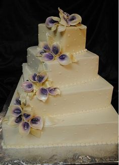 elegant calla lily wedding cakes with purple flowers - Google Search
