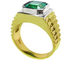 14K white & yellow gold men's emerald stone ring