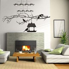 Tree Branch Birds House Floral Birds and Leafs Wall Decal Vinyl Sticker tr589