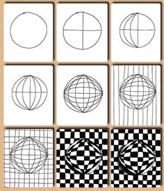 Op art, also known as optical art, is a style of visual art that uses optical illusions. Op art works are abstract, with many better-known pieces created in black and white. Op Art, Doodle Patterns, Drawings, Art Worksheets, Illusion Drawings, Zentangle Art, Drawing Lessons