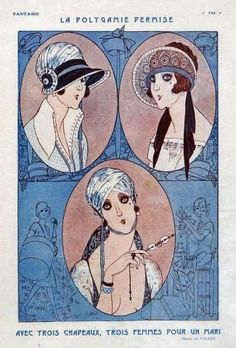 Armand Vallee illustration of 1923 hat styles.