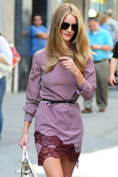 Rosie Huntington-Whiteley in Stella Mc Cartney dress and Alexander Wang sandals.