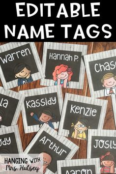 Rustic chalkboard and wood styled editable name tags. Make great accent pieces for bulletin boards or hallway clips.