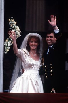 Duke of York marries Sarah Ferguson - in a dress by Lindka Cierach - at Westminster Abbey in London. Iconic Royal Weddings Dresses & Photos (Vogue.com UK) (Vogue.com UK)