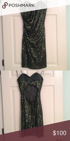 Faviana Homecoming Dress Beautiful, strapless, sequined dress worn once. Back is open. Size 2 and fits true to size. No alterations were needed. Faviana Dresses Strapless