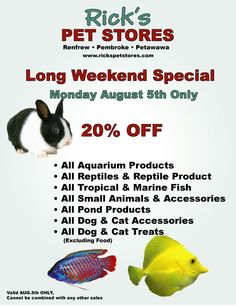 MONDAY ONLY, super great deals for the long weekend, 20% off storewide!