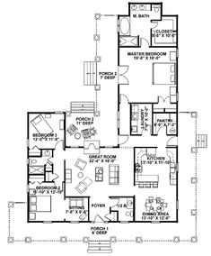 439 best houseplans images dream house plans home plants house Spanish Family Diagram country style house plan 3 beds 2 5 baths 2123 sq ft plan 44 155