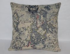 This 17 x 17  pillow is created from a heavy linen blend print. Navy blue print with red, gold and olive green accents featuring a fantasy map /