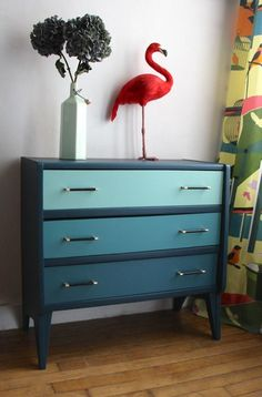 """COMMODE ANNÉES 50 """"IN THE MOOD FOR BLUE"""" via Retour de chine. Click on the image to see more!"""
