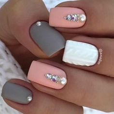 Accurate nails Festive nails Grey and pink nails Ideas of gentle nails Manicure 2018 Matte nails Nails trends 2018 Nails with rhinestones The post Accurate nails Festive nails Grey and pink nails Ideas of gentle nails Manic appeared first on Nageldesign. Square Acrylic Nails, Cute Acrylic Nails, Square Nails, Acrylic Spring Nails, Best Nail Art Designs, Gel Nail Designs, Nails Design, Nagel Gel, Rhinestone Nails