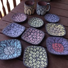 Prefire, flowered bowls and mugs