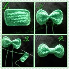 FREE PATTERN - Crochet Hair Bow with Photo Tutorial Created by Photo Grid. Android iPhone Just a cool tip I use when I crochet bows; make a rectangle, take a strand of the same color yarn and tie a couple of times tightly (instead of wrapping) aroun… Appliques Au Crochet, Crochet Bow Pattern, Bonnet Crochet, Crochet Motifs, Crochet Flower Patterns, Crochet Flowers, Free Crochet, Crochet Stitches, Tutorial Crochet