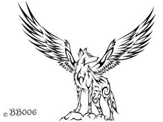 Tribal Winged Wolf by blackbutterfly006.deviantart.com on @DeviantArt