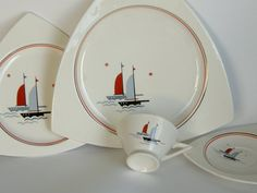 """I've collected this set for years. Known as Salem Streamline or Salem Tricorne, I think they were originally bridge sets and part of a """"Sportsman Series"""" in the art deco style. Small food plates with a larger sandwich plate, and tea/coffee cups. I even have a few nut bowls and creme soup bowls. I found 12 sandwich plates and use them for dinner plates. A wonderful nautical touch from the 1930's."""