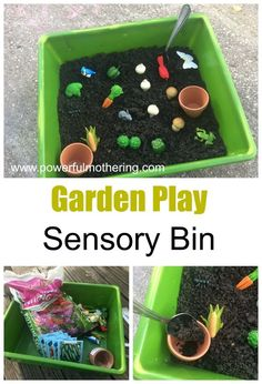 A fun sensory bin for kids this spring- a invitation to play- garden play! Great sensory center for preschool and kindergarten kids. Preschool Garden, Sensory Garden, Preschool Themes, Toddler Preschool, Daycare Themes, Toddler Teacher, Daycare Rooms, Garden Kids, Preschool Crafts