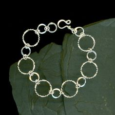 Wire Wrapped Sterling Silver Hammered Chain Links Bracelet Circle