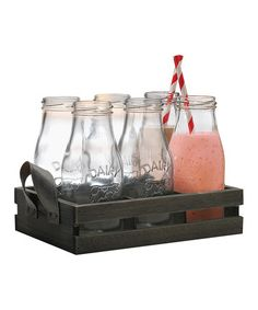 Another great find on #zulily! Country Milk Bottle & Tray Set #zulilyfinds