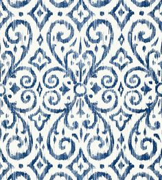 Patara Ikat - Navy wallpaper, from the Caravan collection by Thibaut