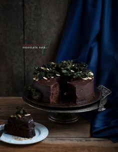 "Desserts for Breakfast: Chocolate beet cake with kale chips and almonds, or the otherwise known as the ""Eat Your Salad and Have Cake, Too"" Cake."